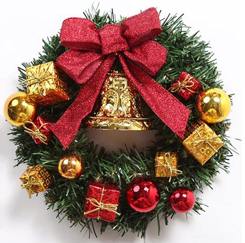派手ロマンチックレンダリングクリスマス リース 玄関 ドア ゴージャス かわいい 選べる 3種類 ゴールド レッド パウダースノー (2 レッド)