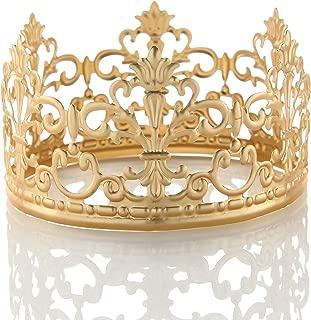 POKERGODZ Vintage Mini Princess Crown Cake Topper Small Wedding Birthday Party Decoration (Scrub Rose Gold)