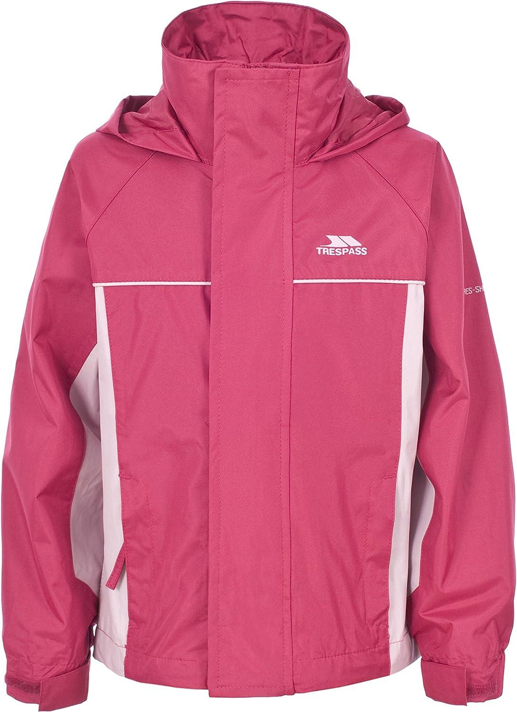Trespass Sooki Kids Hooded Waterproof Jacket Windproof School Raincoat for Girls