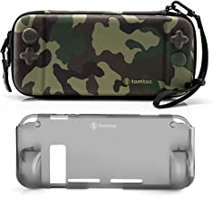 [Combo Set] tomtoc Original Hard Shell Case with Grip Back Cover for Nintendo Switch Console, Travel Carrying Protection Case with 10 Game Card Slots, Camo