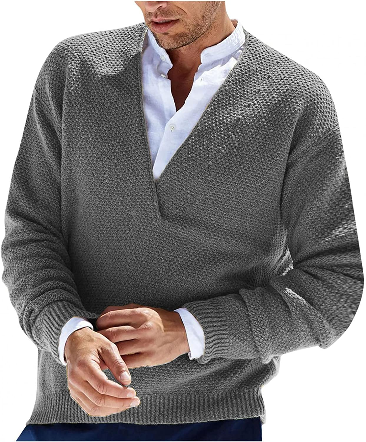 LEIYAN Mens Cable Knit Pullover Sweater Casual Long Sleeve V-Neck Winter Slim Fit Thermal Cardigan Knitwear