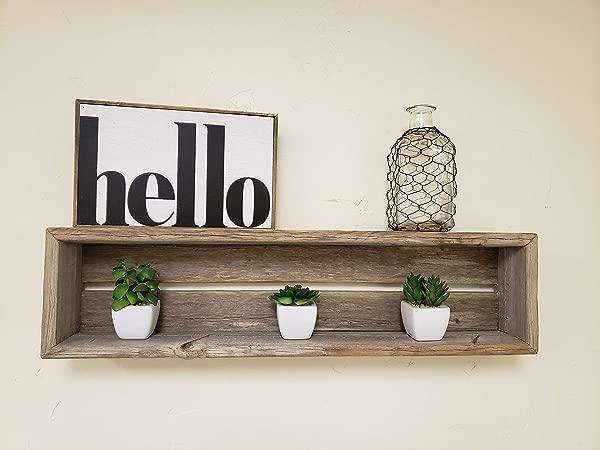 Reclaimed Wood Shadow Box Shelf With Wood Backing Floating Shelf Weathered Grey Rectangle