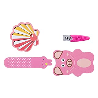 Amazon Brand - Solimo Manicure and Pedicure Kit with Three Nail Files and Nail Clipper, Pink, Pack of 4