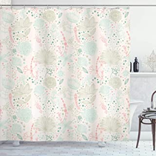 Ambesonne Floral Shower Curtain, Vintage Soft Floral with Dotted Background Nature Inspiration Image, Cloth Fabric Bathroom Decor Set with Hooks, 70