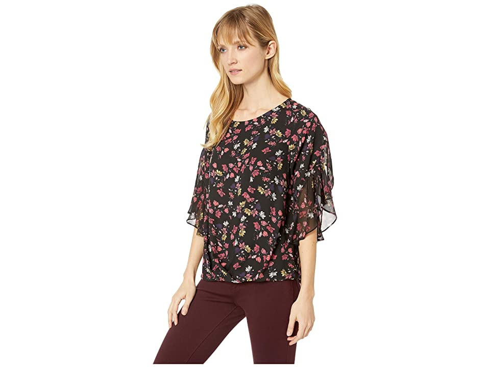 Vince Camuto Specialty Size Womens Plus Size Etched Ditsy Ruffle Sleeve Fold-Over Front Blouse