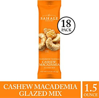Sahale Snacks Tangerine Vanilla Cashew-Macadamia Glazed Nut Mix - Nut Snacks in a Grab 'n Go Pouch, Paleo Snacks with No Artificial Flavors, Preservatives or Colors, 1.5 Ounce (Pack of 18)