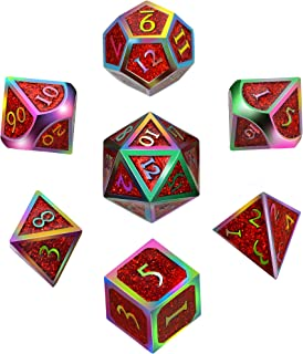 7 Pieces Metal Dices Set DND Game Polyhedral Solid Metal D&D Dice Set with Storage Bag and Zinc Alloy with Enamel for Role Playing Game Dungeons and Dragons, Math Teaching (Colorful Glitter Red)