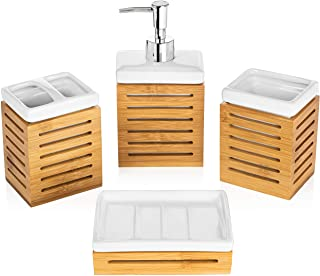 Homevative 4 Piece Bathroom Accessories Set, Ceramic and Natural Bamboo, Great for Any Bathroom Style