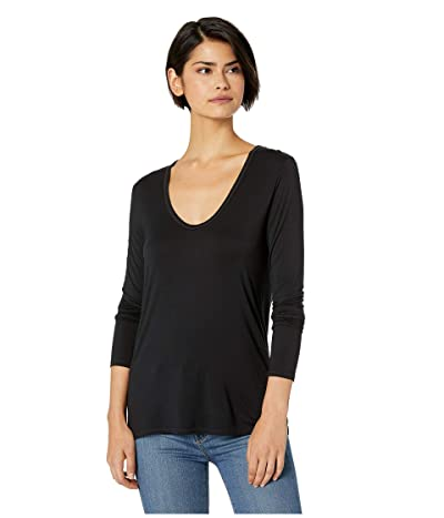 Splendid Madison Long Sleeve Rayon Jersey Scoop Neck Tee (Black) Women