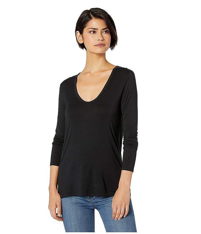 Splendid Madison Long Sleeve Rayon Jersey Scoop Neck Tee (Black) Women