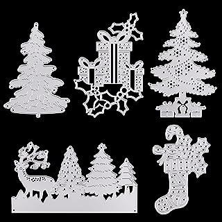 Métal à découper de Noël, 5 pièces Arbre de Noël Découpes en métal sapin de Noël, Boîte-cadeau, wapiti bonhomme de neige D...