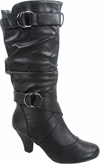 Maggie-39 Women's Fashion Low Heel Zipper Slouchy Mid-Calf Boots Shoes