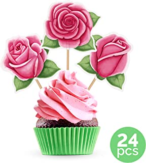 Best pink rose cupcake toppers Reviews