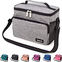Leakproof Reusable Insulated Cooler Lunch Bag - Office Work Picnic Hiking Beach Lunch Box Organizer with Adjustable Shoulder Strap for Women,Men-Dark Grey