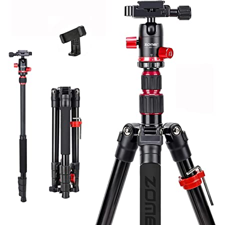 Zomei M5 Camera Tripod,Lightweight Travel Aluminum Tripod Monopod Compact Portable Photography Tripod Stand with 360 Degree Ball Head and Phone Clip for DSLR Cameras, Smartphone