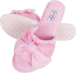 Womens Plush Open Toe Slide On House Slipper with Bow