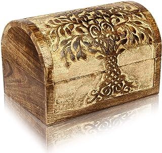 The Great Indian Bazaar Handmade Decorative Wooden Jewelry Box Tree Life Carvings Jewelry Organizer Keepsake Box Treasure ...