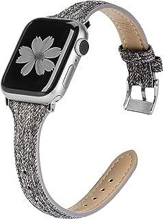 Apple Watch バンド/Apple Watch 4 バンド,Wearlizer アップルウォッチ皮革 バンド apple watch series 4/3/2/1対応 アップルウォッチ 4 バンド iwatchレーザーバンド 軽量 調整工具不要 42mm 44mm ブラック+グレー