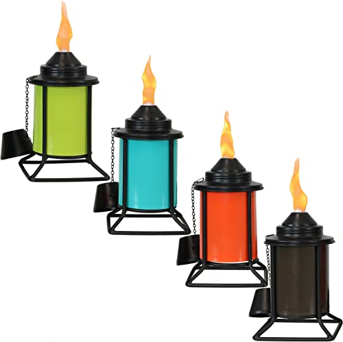 new arrival Sunnydaze Metal lowest Tabletop Torches, Outdoor new arrival Patio and Lawn Torch, Multi-Color, Set of 4 online
