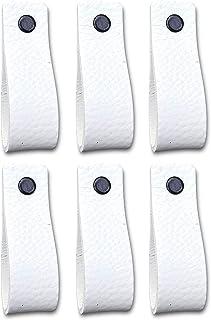 Tiradores de Cuero   Blanco / 6 piezas   16,5 x 2,5 cm   Piel de Granos   3 tornillos de color - tiradores para Accesorio de Mobilario, armario, cajón, puerta