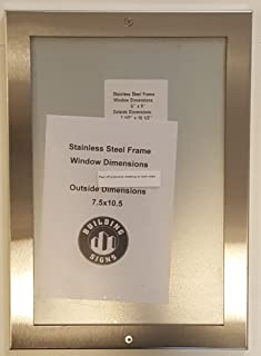 Elevator certificate frame 6x9 stainless Steel