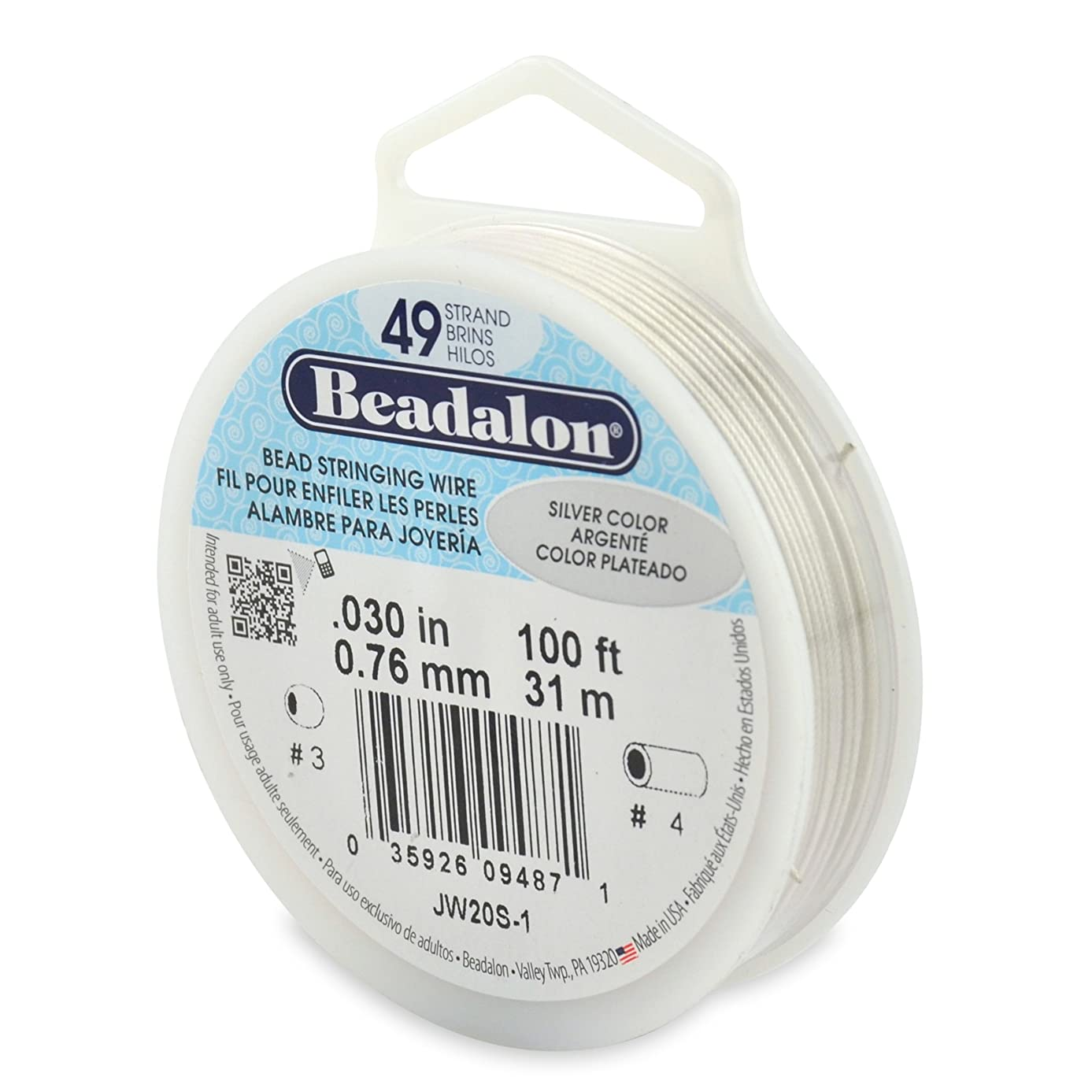Beadalon 49-Strand Bead Stringing Wire, 0.030-Inch, Silver Color, 100-Feet