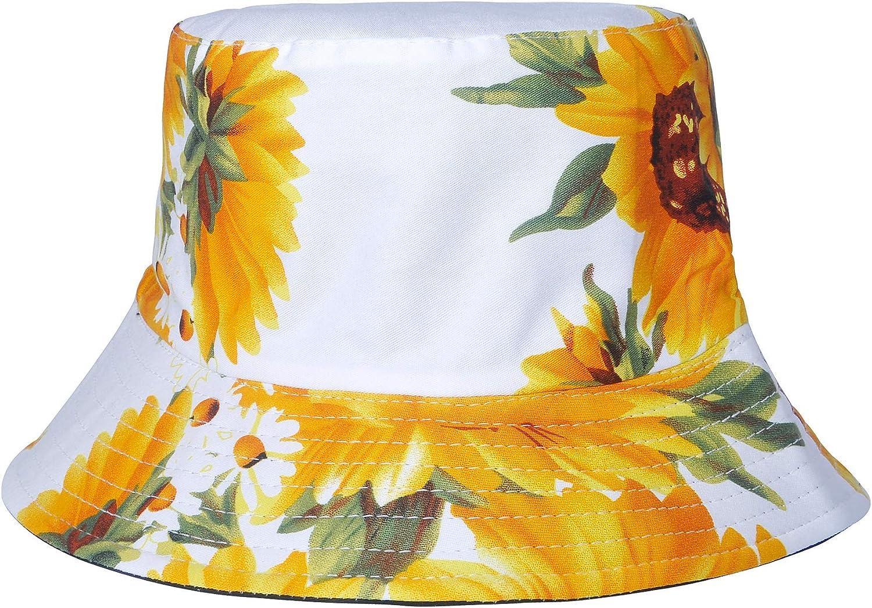 Unisex Funky Floral Plant Rainforest Print Canvas Bucket Hat Fishmen Cap for Women Men-25