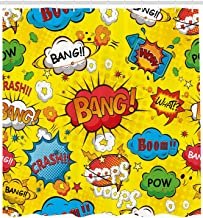 JXHLMS Superhero Shower Curtain by, Pop Art Style Comic Speech Bubbles Funny Humor Expressions Boom Splash Bang, Fabric Bathroom Decor Set with Hooks, 66 W x 72 L Inches Extra Long, Blue Cream Red