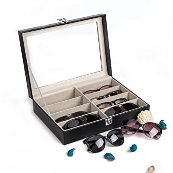 CO-Z Leather Multi Sunglasses Organizer for Women Men, Eyeglasses Eyewear Display Case, Jewelry Watch Organizer, Sunglasses Jewelry Collection Case, Sunglass Glasses Storage Holder Box with 8 Slots