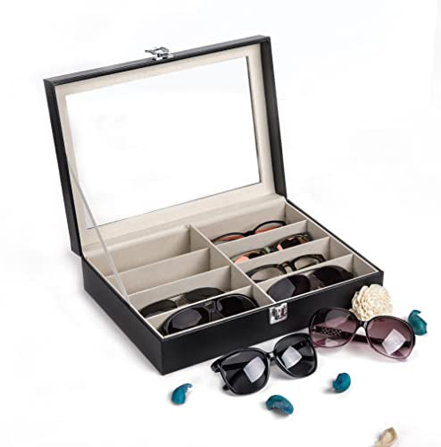 CO-Z Leather Multi Sunglasses Organizer for Women Men, Eyeglasses Eyewear Display Case, Jewelry Watch Organizer, Sung...