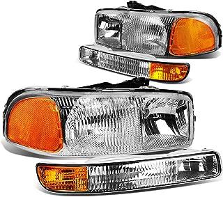 For GMC Sierra GMT800 Pair of OE Style Chrome Housing Headlights w/Amber Corner Bumper Lights