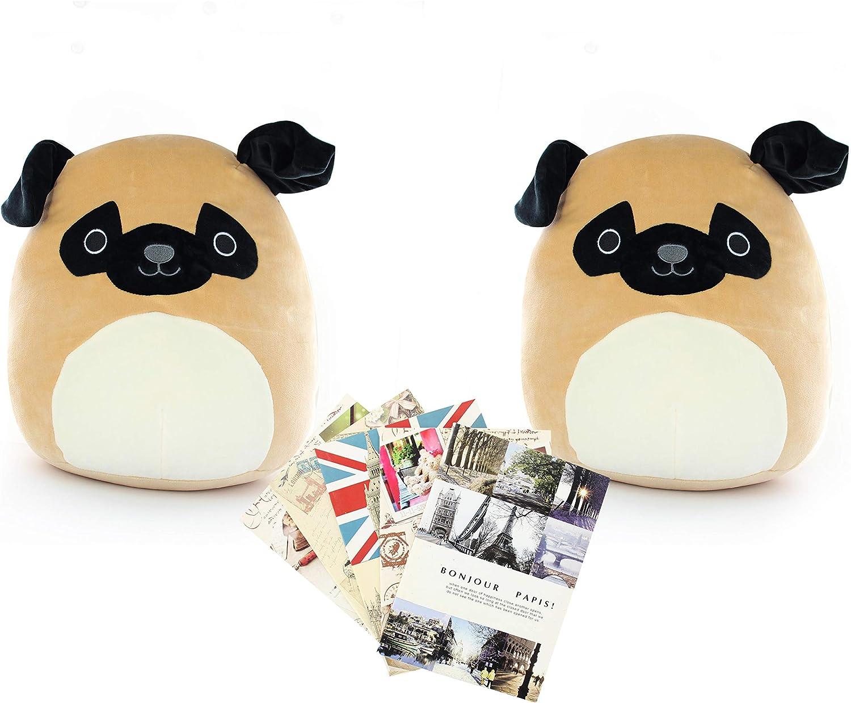 QuStars Set of 2X Squishmallows Super Soft Plush Toy 13  Animal Pillow Pal Buddy+ 2 Free notebooks (Dog & Dog)
