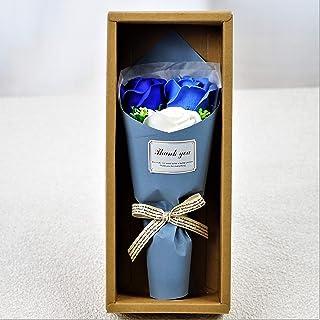 BIOフレグランスソープフラワー フェアリー3輪ローズBOX ギフトボックス お祝い 記念日 お見舞い ギフト (ブルー)