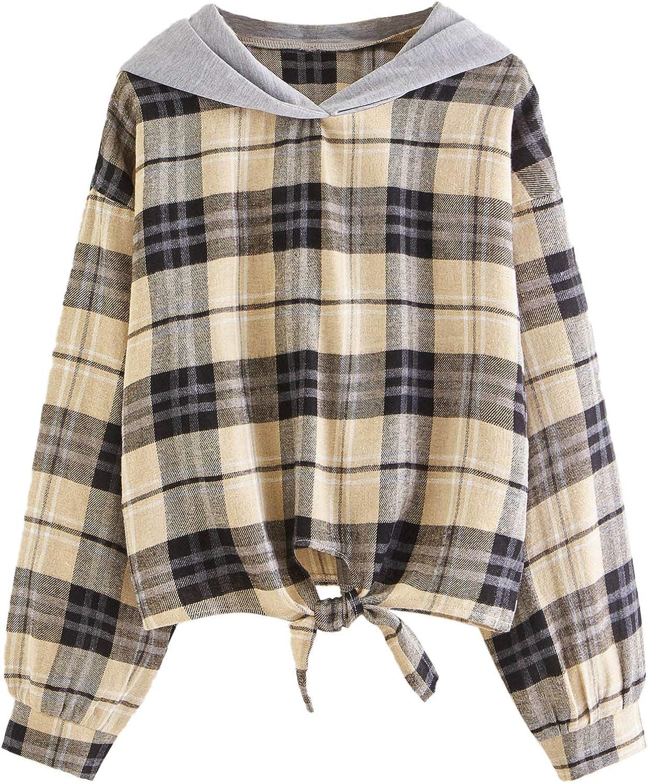 SweatyRocks Women's Plaid Long Sleeve Tie Knot Hem Pullover Hooded Sweatshirt