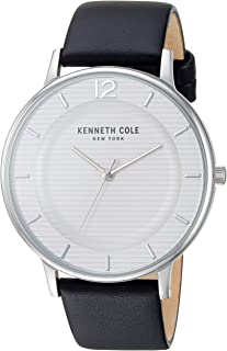 Men's Classic Stainless Steel Japanese-Quartz Watch with Leather Strap, Black, 20 (Model: KC50912001)