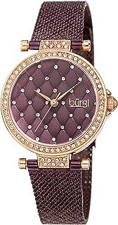 Burgi Women's Swarovski Crystal Argyle Embossed Dial Watch - Sparkling Swarovski Crystals Ring The Bezel on aStainless Steel Argyle Mesh Band - BUR263
