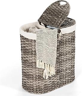 COSTWAY Panier à Linge 110L en Rotin PE,2 Compartiments-Séparation Sèche et Humide Corbeille à Vêtements avec Couvercle Sa...