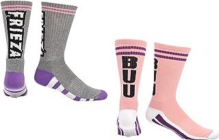 Dragon Ball Super Socks Gifts (2 Pair) - (1 Size) Frieza BUU DBZS Cushioned Arch Support Cushion Crew Socks