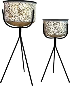 allgala Deluxe 2-Set Galvanized Planter Pot Indoor and Outdoor Decoration-Gold Rose 3 Leg Stand-HD88352
