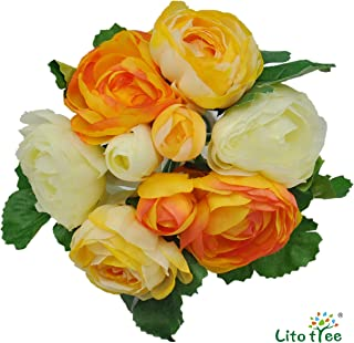 LitoTree Artificial Flowers Silk Flowers Rose of Winter Bouquet Vintage Fake Flowers with 9 Heads Camellia for Wedding Home Party and Garden Decoration (Orange Yellow White)