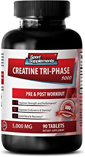 Creatine Pills 5000mg - Creatine Tri Phase 5000 Mg - Increase in Muscle Size (1 Bottle - 90 Tablets)