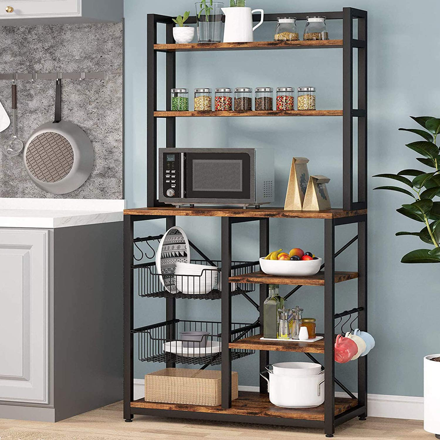 Tribesigns 6-Tier Kitchen Baker's Rack with 6 Hooks and Hutch, Free Standing Microwave Oven Stand with 2 Wire Baskets, Uti...