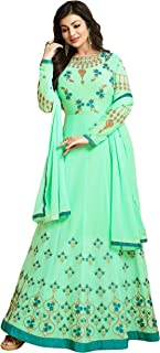 cloudbox Women's Sea Green Color Floor Length Resham Embroidery Semi-Stitched Anarkali Salwar Suit Material (Sea Green Color,Free Size)
