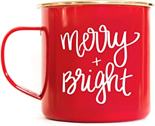 Sweet Water Decor Merry and Bright Campfire Mug Large Red Tea Cup Coffee Lover Coffee Mug Christmas Gift For Her Hot Chocolate Holiday Gifts Accessories Stocking Stuffer Mugs Cozy Winter Decorations