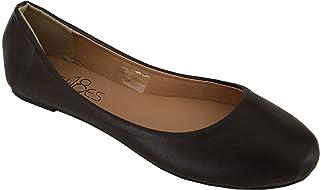 Shoes 18 Womens Ballerina Ballet Flat Shoes Solids & Leopards (9, Brown PU 8600)