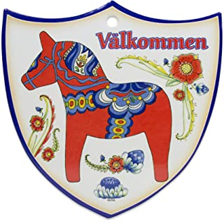 Essence of Europe Gifts E.H.G Decorative Swedish Red/Orange Dala Horse Arwork with Valkommen Wall Hanging Ceramic Welcome 7.5