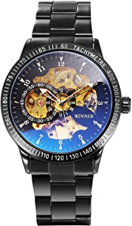 AMPM24 Men's Automatic Wrist Watch Blue Ray Glass Skeleton Dial Black Stainless Steel PMW509