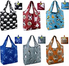 Grocery Bags Reusable Foldable 6 Pack Shopping Bags Large 50LBS Cute Groceries Bags with Pouch Bulk Ripstop Waterproof Mac...