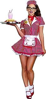 Women's 50's 60's Retro Striped Diner Doll Waitress Costume