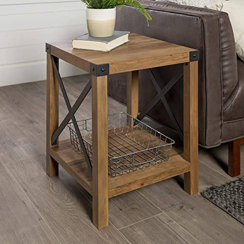 Walker Edison Furniture Company Rustic Modern Farmhouse Metal and Wood Square Side Accent Living Room Small End Table...